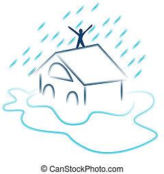 oversvømme, glimt, nødsituation