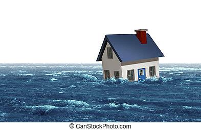 oversvømme, hus