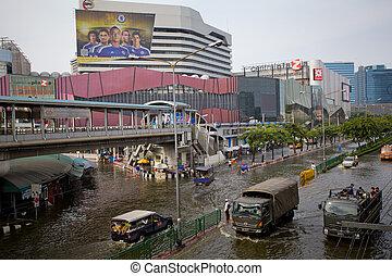 oversvømme, træffere, central, thai, thailand