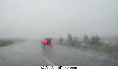 overtake car heavy rain