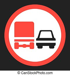 Overtaking ban for truck prohibition sign icon