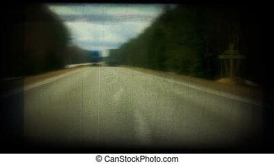 overtaking on highway. Retro styled