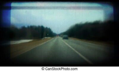 overtaking on highway. Vintage styl