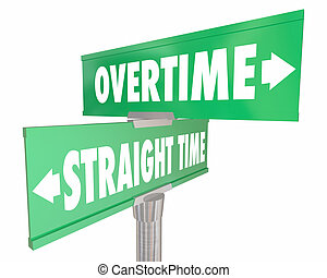 Overtime Vs Straight Time Working Wage Pay Signs 3d...