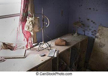overturned cabinet by bedroom window - Flood damaged ...