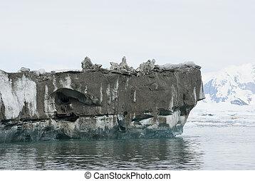 overturned., iceberg, fond