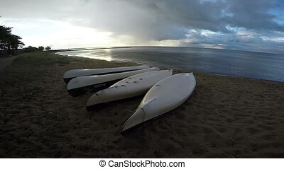 Overturned kayaks in Curonian Lagoon, 4K - Overturned boats...