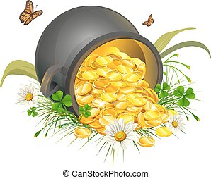 Overturned pot of gold coins. Cauldron of gold. Isolated on...