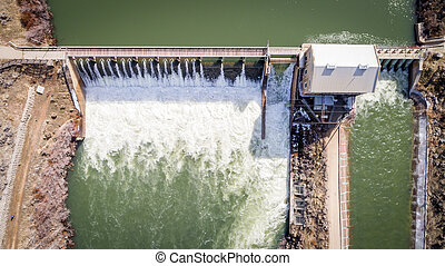 High water aerial view of a Diversion Dam on the Boise River in Idaho