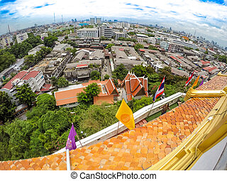 Overview Bangkok, Thailand, cityscape with open sky.