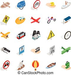 Overview icons set, isometric style