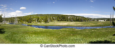 overview in Yellowstone National Park in Wyoming in the...