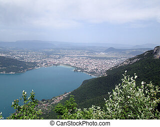 Overview of Annecy city and lake in France
