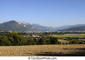 Overview of Annecy city and lake