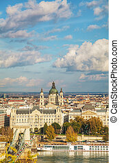 Overview of Budapest on a cloudy day