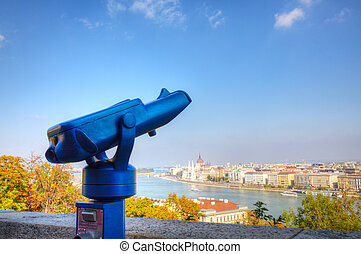 Overview of Budapest with binoculars