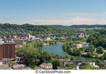 View of the downtown area of Morgantown WV and campus of West Virginia University