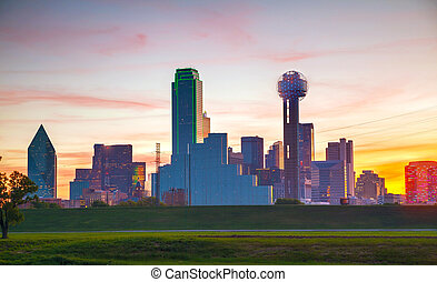 Overview of downtown Dallas in the morning