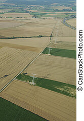 Overview of electric pylons - Aerial view of electric pylons...