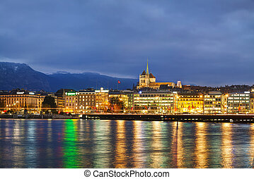 Overview of Geneva, Switzerland at the night time