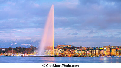Overview of Geneva, Switzerland - Panoramic overview of...