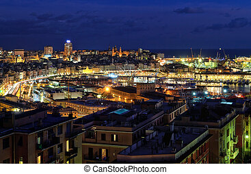 overview of Genoa at evening