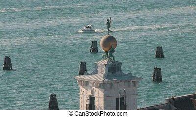 Overview of italian port. Venice. Wide shot
