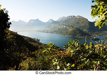OVerview of lake Annecy at autumn on morning