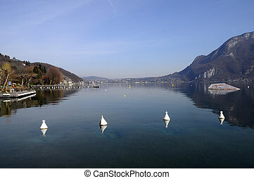Lake of Annecy and Forclaz mountain, in france