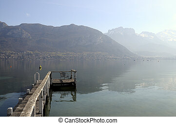 Overview of Lake of Annecy and Forclaz mountain, in france