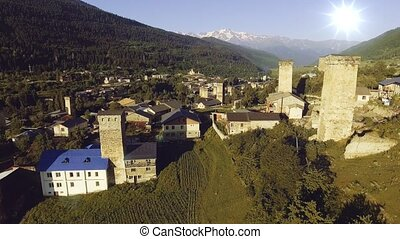 Overview of Mestia, famous for its 'Svan' towers, in the...