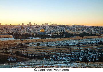 Overview of Old City in Jerusalem, Israel