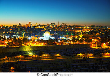 Overview of Old City in Jerusalem, Israel with The Dome of...