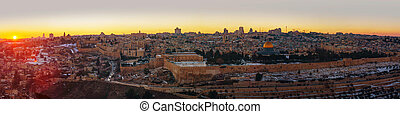 Overview of Old City in Jerusalem, Israel with The Golden...