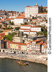Overview of Old Town of Porto, Portugal. Ribeira and Douro ...