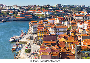 Overview of Old Town of Porto, Portugal. Ribeira and Douro...