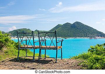 Seat at overlook viewpoint over Philipsburg in Sint Maarten St Martin Caribbean