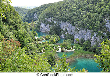 Overview of Plitvice waterfalls