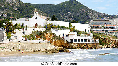 Overview of Sitges with Church the background, Barcelona