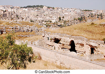 Overview of the City of Matera and the ancient rock-hewn...