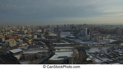 Overview of the city of Novosibirsk on a frosty day