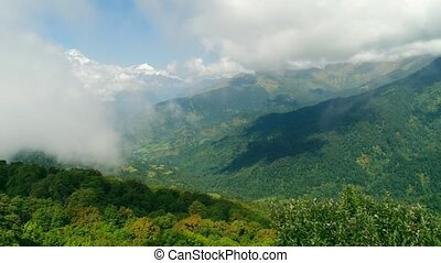 Overview of the mountain landscape with a drone in Pokhara,...