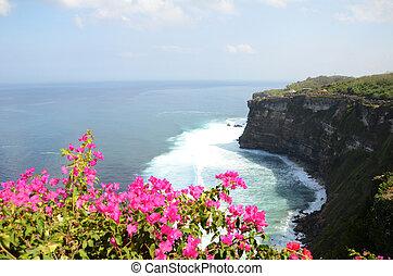 Pura Luhur Uluwatu Temple, Bali - Overview panorama ocean ...