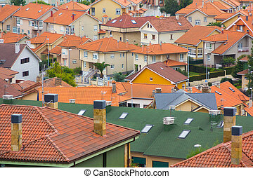overview roofs of family houses
