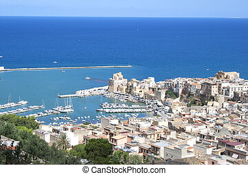 Overviewing Castellammare del Golfo, Sicily, Italy