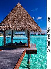 overwater, ásványvízforrás, és, bungalows, alatt, tropikus, lagúna
