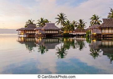 overwater, bungalows, französisches polynesien
