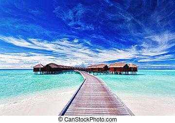overwater, landhäuser, auf, der, lagune