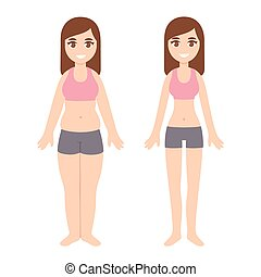 Overweight and slim woman