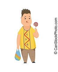 Overweight boy, cute chubby child cartoon character vector Illustration on a white background.